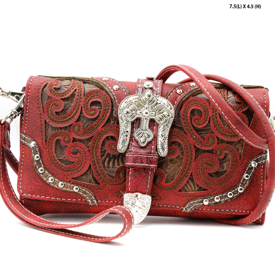 2066-W13-RED - WHOLESALE WESTERN WALLETS HIPSTER CROSS BODY STYLE