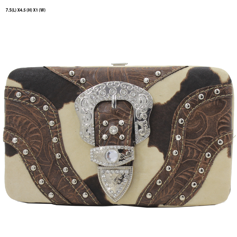 305-W9-COW-BROWN - RHINESTONE COWPRINT BUCKLE WALLETS