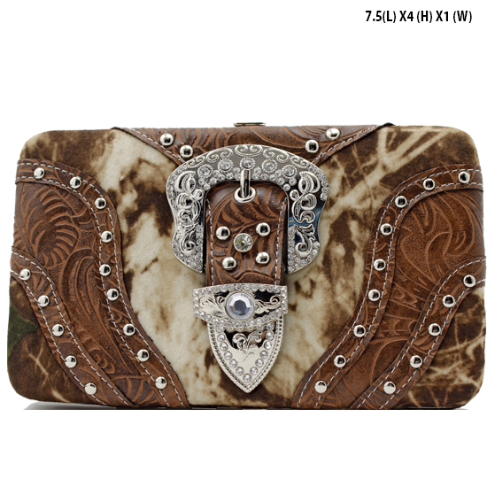 MLF-305-W9-BROWN - RHINESTONE CAMOUFLAGE PRINT BUCKLE WALLETS