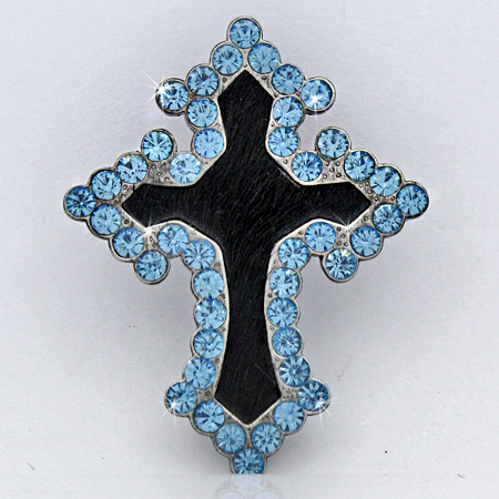 PNDT-318-BLACK - MAGNETIC HAIR ON HIDE CROSS PENDANT
