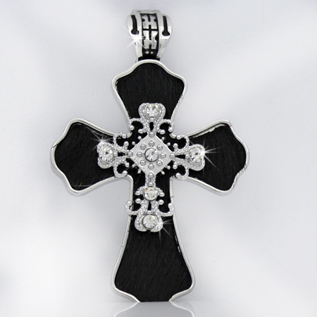 PNDT-539-BLACK - MAGNETIC HAIR ON HIDE CROSS PENDANT