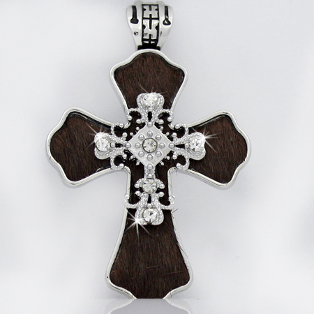 PNDT-539-BROWN - MAGNETIC HAIR ON HIDE CROSS PENDANT