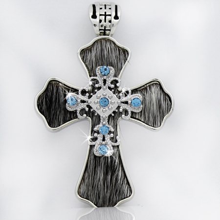 PNDT-539-WT-BRIN - MAGNETIC HAIR ON HIDE CROSS PENDANT