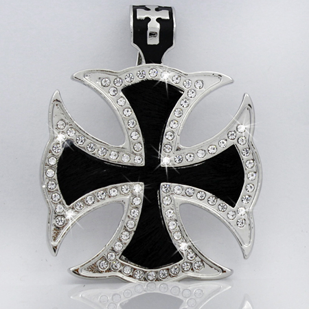 PNDT-620-BLACK - MAGNETIC HAIR ON HIDE CROSS PENDANT