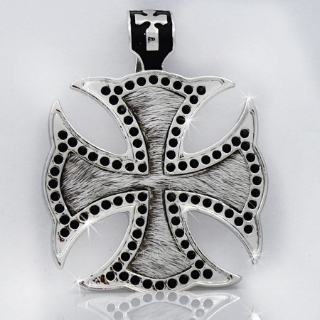 PNDT-620-WT-BLK - MAGNETIC HAIR ON HIDE CROSS PENDANT