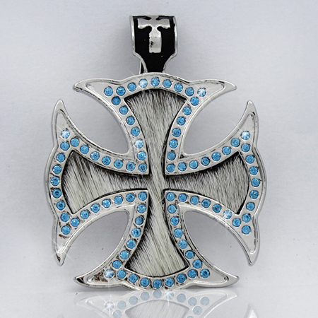 PNDT-620-WT-TURQ - MAGNETIC HAIR ON HIDE CROSS PENDANT