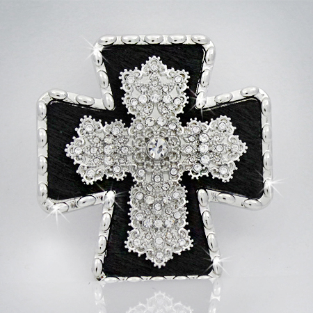 PNDT-754-BLACK - MAGNETIC HAIR ON HIDE CROSS PENDANT