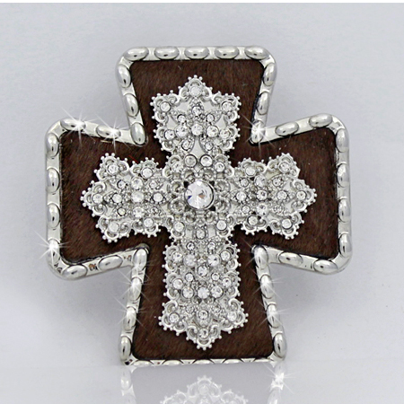 PNDT-754-BROWN - MAGNETIC HAIR ON HIDE CROSS PENDANT