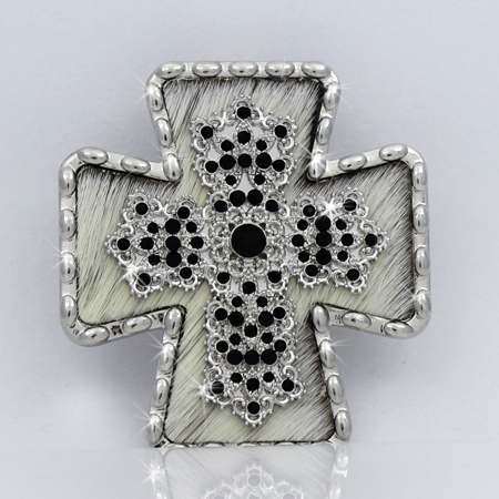 PNDT-754-WT-BLK - MAGNETIC HAIR ON HIDE CROSS PENDANT