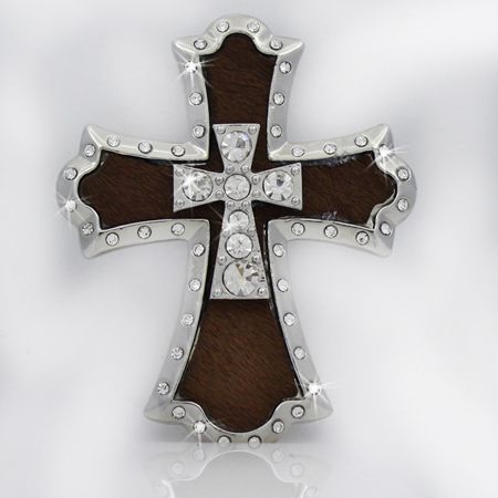 PNDT-784-BROWN - MAGNETIC HAIR ON HIDE CROSS PENDANT