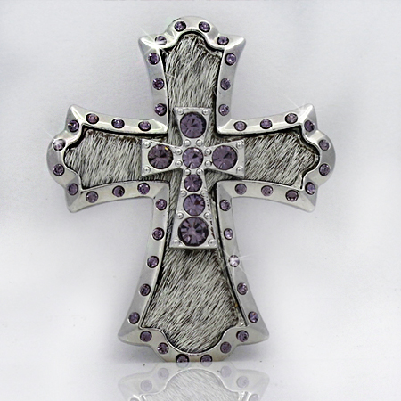 PNDT-784-WT-PUR - MAGNETIC HAIR ON HIDE CROSS PENDANT