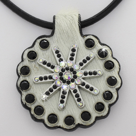 HAIR ON HIDE PENDANTS - GENUINE COWHIDE RHINESTONE STUDDED PENDANT