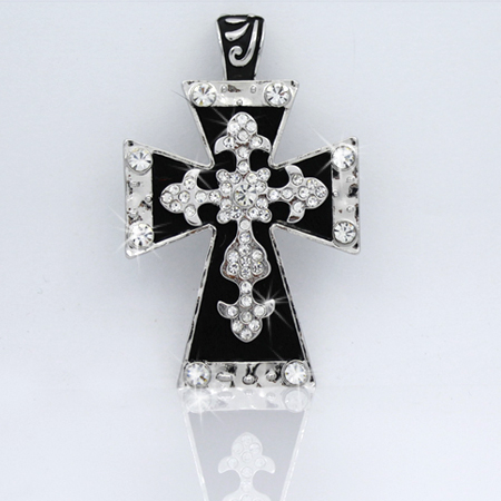 PNDT-519-BLACK - MAGNETIC HAIR ON HIDE CROSS PENDANT