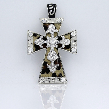 PNDT-519-LEO - MAGNETIC HAIR ON HIDE CROSS PENDANT