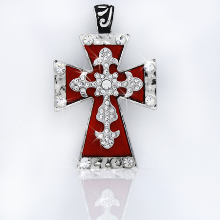 PNDT-519-RED - MAGNETIC HAIR ON HIDE CROSS PENDANT