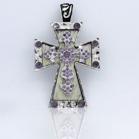 PNDT-519-WT-PUR - MAGNETIC HAIR ON HIDE CROSS PENDANT