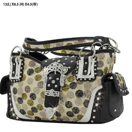 POR-846-BLACK - WESTERN RHINESTONE BUCKLE HANDBAGS