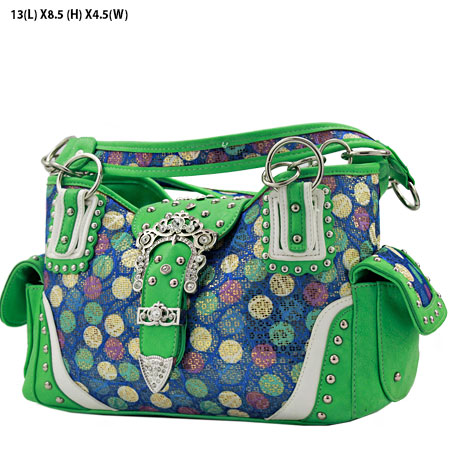 POR-846-MINT - WESTERN RHINESTONE BUCKLE HANDBAGS