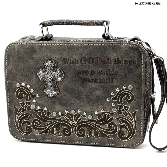 PRY-221--PEWTER - WHOLESALE BIBLE COVERS/ RHIENSTONE CROSS BIBE CASES