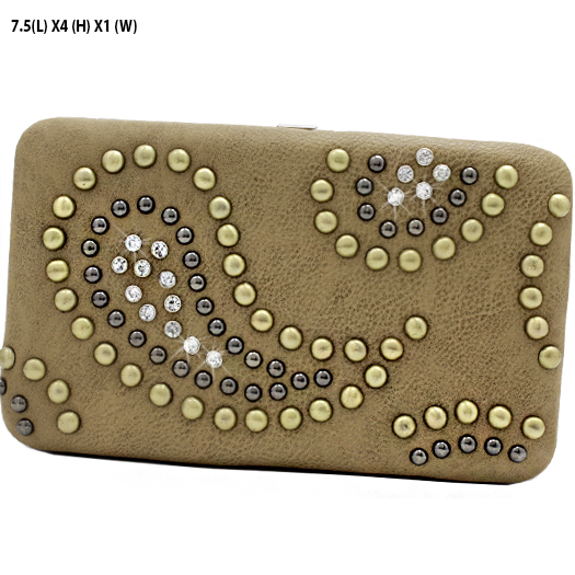 PZE-3000-TAN - WHOLESALE FLAT WALLETS/OPERA STYLE METAL FRAME