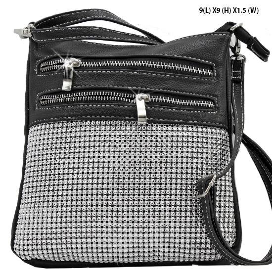 Q2991-BLACK - WHOLESALE DESIGNER INSPIRED MESSENGER HIPSTER BAGS