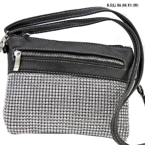 Q2997-BLACK - WHOLESALE DESIGNER INSPIRED MESSENGER HIPSTER BAGS