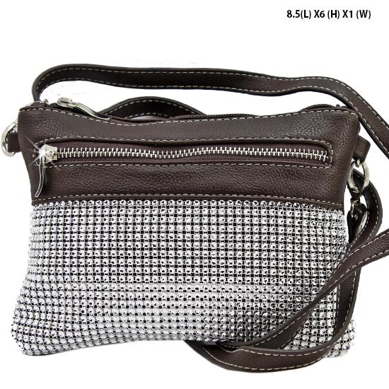 Q2997-BROWN - WHOLESALE DESIGNER INSPIRED MESSENGER HIPSTER BAGS