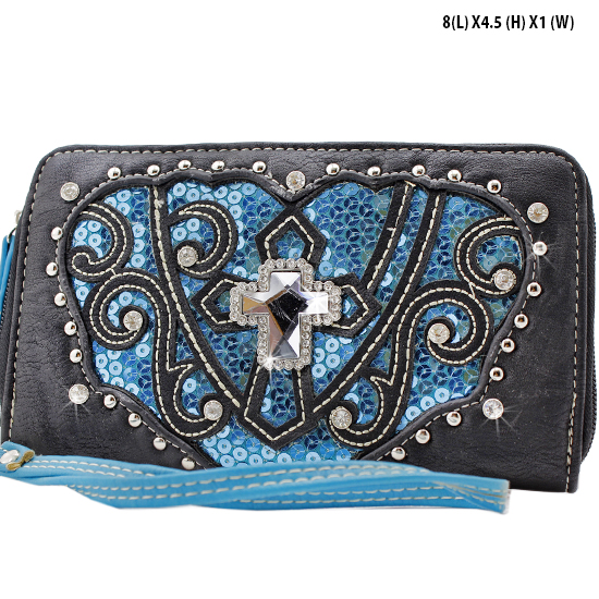 QB-245-BK/TQ - WHOLESALE WOMENS WRISTLETS-WALLETS