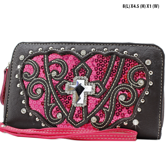 QB-245-BRN/PK - WHOLESALE WOMENS WRISTLETS-WALLETS