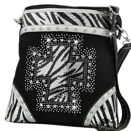 QH-938-BLACK - WESTERN RHINESTONE STUDDED MESSENGER HANDBAGS