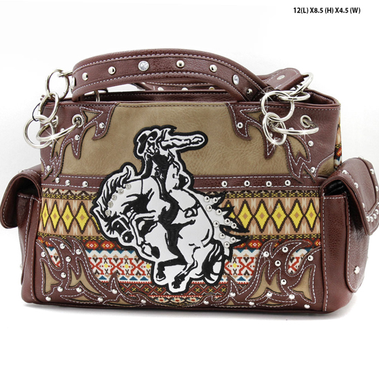 ROD-8469-BROWN - WHOLESALE WESTERN RODEO HANDBAGS AND PURSES