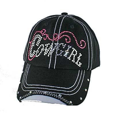 RSCOWGIRL BLACK - WHOLESALE RHINESTONE COWGIRL CAP/BASEBALL CAPS