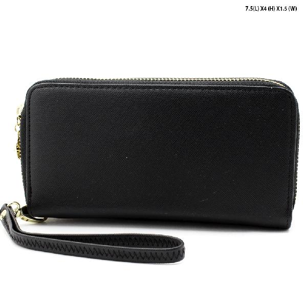 S-002-BLACK - WHOLESALE WOMENS TOP ZIP WRISLET WALLET