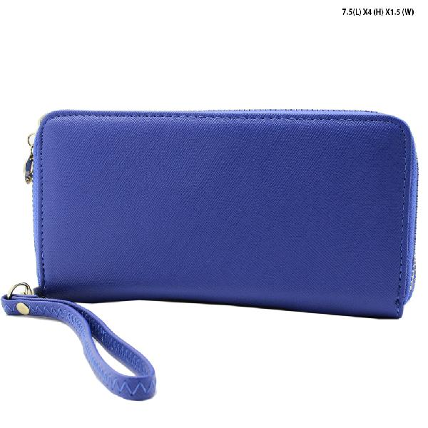 S-002-BLUE - WHOLESALE WOMENS TOP ZIP WRISLET WALLET