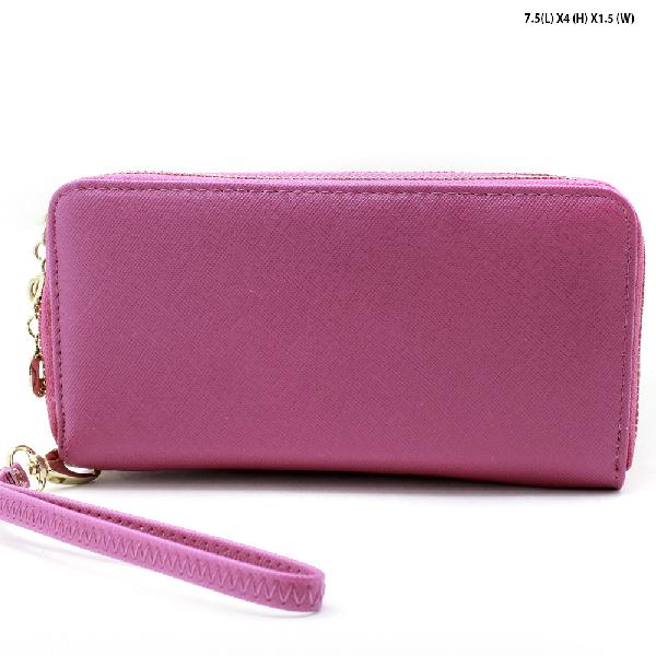 S-002-FUS - WHOLESALE WOMENS TOP ZIP WRISLET WALLET