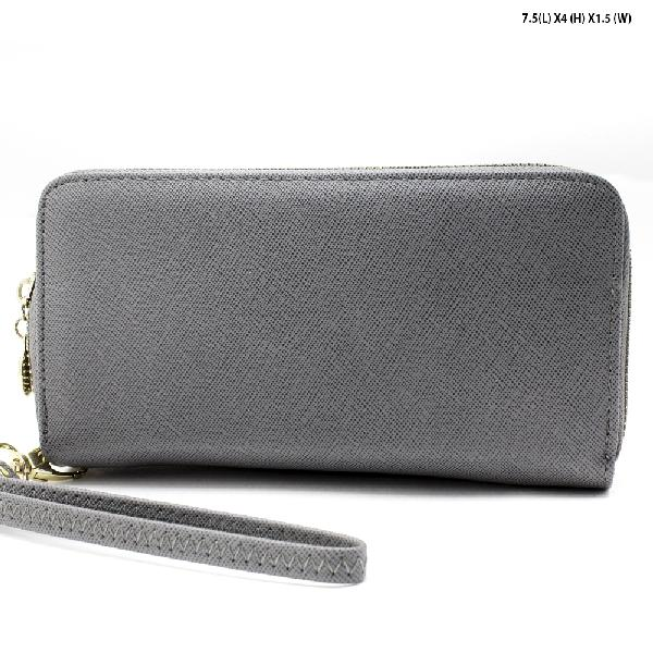 S-002-GREY - WHOLESALE WOMENS TOP ZIP WRISLET WALLET
