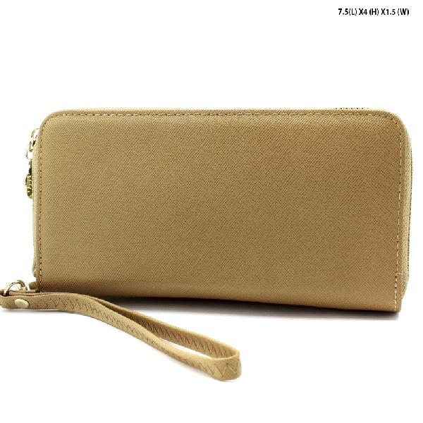 S-002-TAN - WHOLESALE WOMENS TOP ZIP WRISLET WALLET