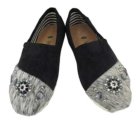 S1002-BLACK/WTBRIN - WESTERN RHINESTONE HAIR ON HIDE SHOES