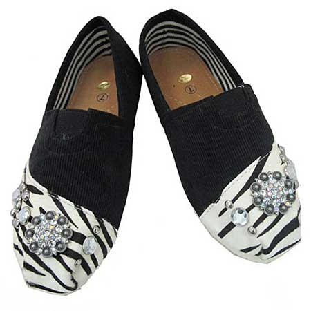 S1002-BLACK/ZEBRA - WESTERN RHINESTONE HAIR ON HIDE SHOES