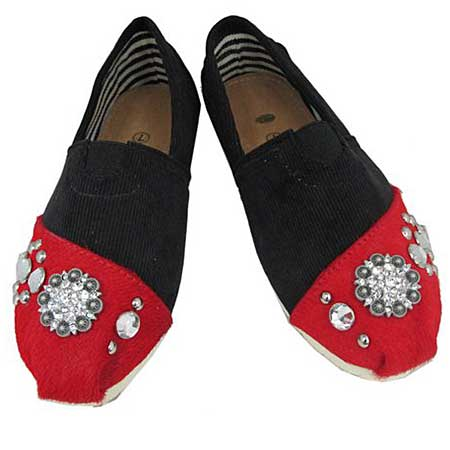 S1002-BLACK/RED - WESTERN RHINESTONE HAIR ON HIDE SHOES