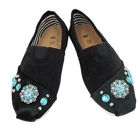 S1002-BLACK/TURQ - WESTERN RHINESTONE HAIR ON HIDE SHOES