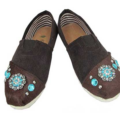 S1002-BROWN/TQ - WESTERN RHINESTONE HAIR ON HIDE SHOES