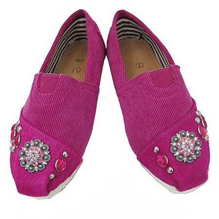S1002-PINK - WESTERN RHINESTONE HAIR ON HIDE SHOES