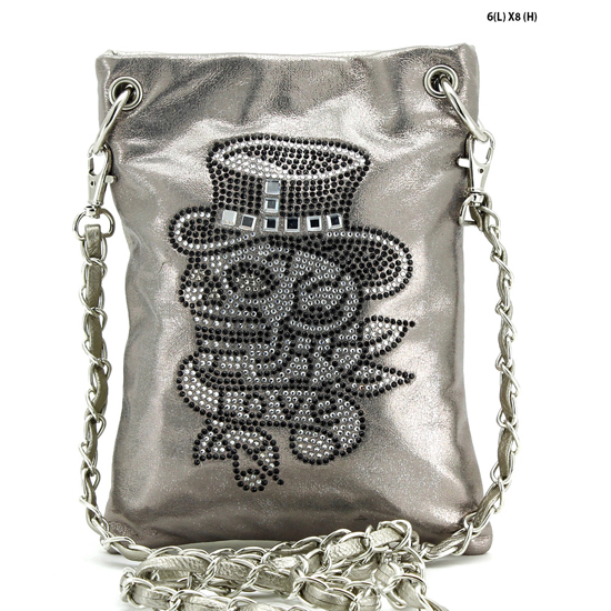 SKULL-2030-A-SIL - WHOLESALE RHINESTONE CRYSTAL CELLPHONE CASES/POUCHES