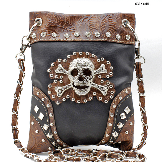 SKULL-2030-BLACK - WHOLESALE RHINESTONE CRYSTAL CELLPHONE CASES/POUCHES