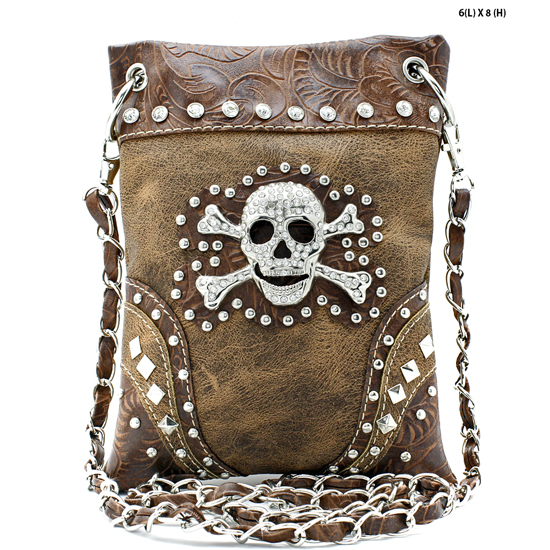 SKULL-2030-BROWN - WHOLESALE RHINESTONE CRYSTAL CELLPHONE CASES/POUCHES