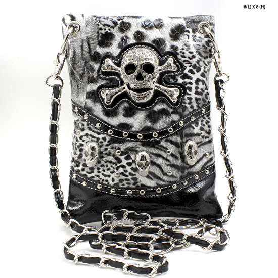 SKULL-W4LT-2030-BLACK - WHOLESALE RHINESTONE CRYSTAL CELLPHONE CASES/POUCHES