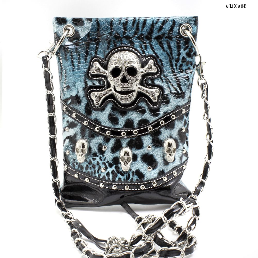 SKULL-W4LT-2030-TURQ - WHOLESALE RHINESTONE CRYSTAL CELLPHONE CASES/POUCHES