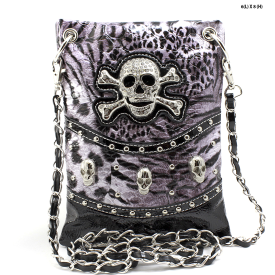 SKULL-W4LT-2030-PURPLE - WHOLESALE RHINESTONE CRYSTAL CELLPHONE CASES/POUCHES