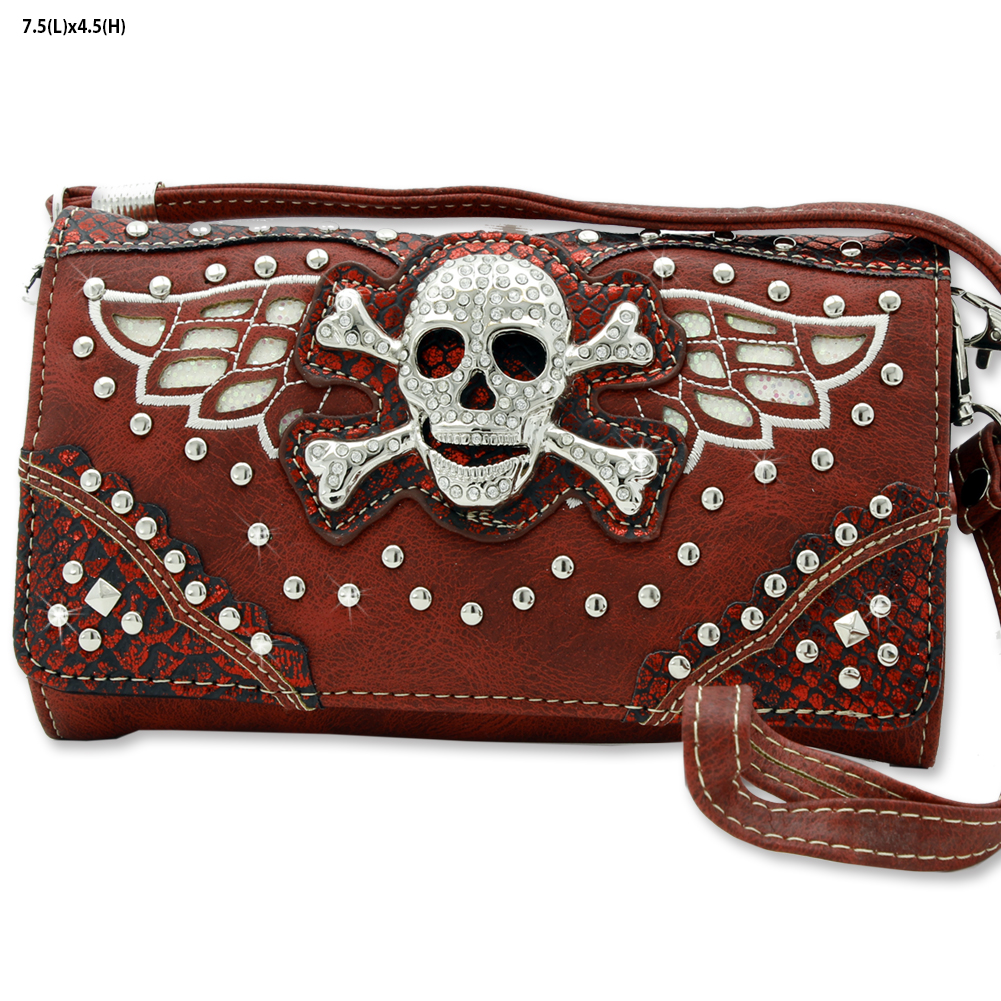Skull Hipster Wallet - WHOLESALE WESTERN WALLETS HIPSTER CROSS BODY STYLE